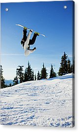 A Snowboarder Does A High Flying Ariel Acrylic Print