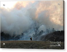 A Solitary Firefighter On The White Draw Fire Acrylic Print