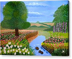 Acrylic Print featuring the painting A Spring Stream by Magdalena Frohnsdorff