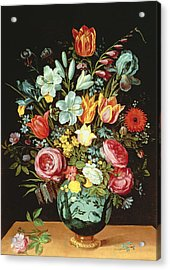 A Still Life Of Flowers In A Porcelain Vase Resting On A Ledge Acrylic Print by Phillipe de Marlier