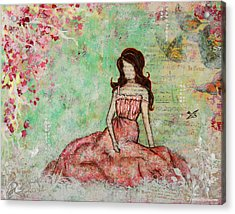 A Still Morning Folk Art Mixed Media Painting Acrylic Print by Janelle Nichol