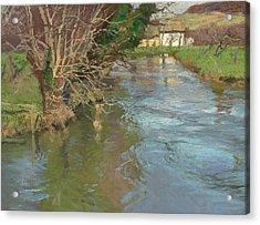 A Stream In Spring Acrylic Print by Fritz Thaulow
