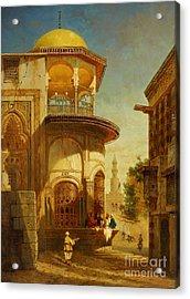 A Street Scene In Old Cairo Near The Ibn Tulun Mosque Acrylic Print by Adrien Dauzats