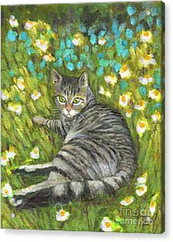 A Striped Cat On Floral Carpet Acrylic Print