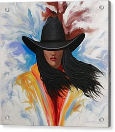 A Stroke Of Cowgirl Acrylic Print by Lance Headlee