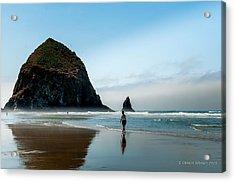 A Stroll At Cannon Beach Oregon Acrylic Print