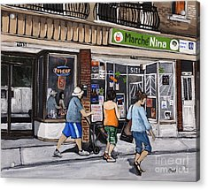 A Stroll Down Wellington Street In Verdun Acrylic Print by Reb Frost