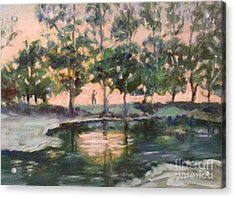 Acrylic Print featuring the painting A Walk  In The Park by Marcia Dutton