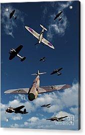 A Supermarine Spitfire Attacking Acrylic Print by Mark Stevenson