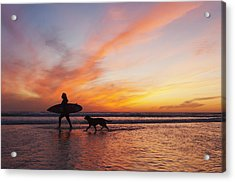 A Surfer Walks In Shallow Water With Acrylic Print
