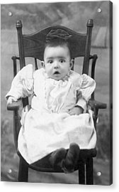 A Surprised Baby Portrait Acrylic Print by Underwood Archives