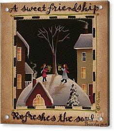 A Sweet Friendship  Winter Acrylic Print by Catherine Holman
