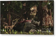 A T-rex Returns To His Kill And Finds Acrylic Print by Arthur Dorety