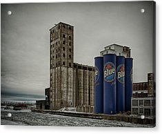 A Tall Blue Six-pack Acrylic Print by Guy Whiteley