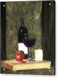 Acrylic Print featuring the painting A Taste Of Merlot by Cindy Plutnicki
