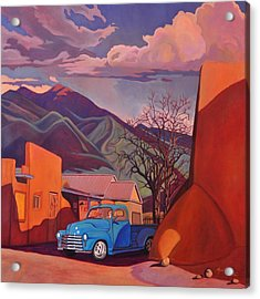 Acrylic Print featuring the painting A Teal Truck In Taos by Art James West