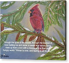 Acrylic Print featuring the painting A Tired And Hungry World Hears The Sweet And Savory Song Of A Cardinal by Kimberlee Baxter