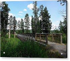 A Trail's Footbridge Acrylic Print by Lizbeth Bostrom