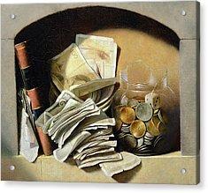 A Trompe Loeil Of Paper Money Coins Acrylic Print