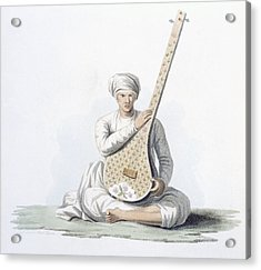 A Tumboora, Musical Instrument Played Acrylic Print by Franz Balthazar Solvyns