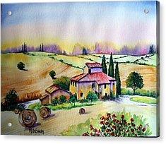 A Tuscann Farmhouse Acrylic Print by Maria Barry