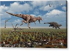 A Tyrannosaurus Rex Giving Chase To An Acrylic Print