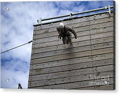 A U.s. Soldier Runs Down A 40-foot Acrylic Print by Stocktrek Images