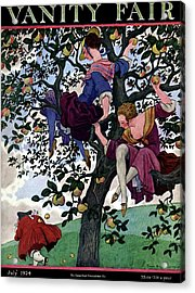 A Vanity Fair Cover Of Women Throwing Apples Acrylic Print by Pierre Brissaud