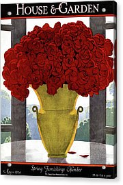 A Vase With Red Roses Acrylic Print