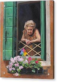 A Venetian Spectator Acrylic Print by Anna Rose Bain