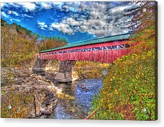 A Vermont Covered Bridge Taftsville Covered Bridge Acrylic Print by Constantine Gregory