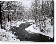 A Vermont Stream In Winter Acrylic Print
