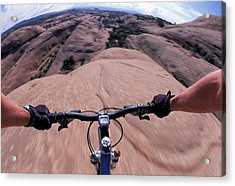 A View Of A Female Mountain Bikers Acrylic Print