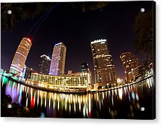 A View Of Tampa And The Hillsborough River Acrylic Print by Daniel Woodrum
