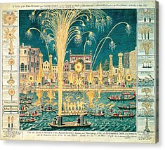 A View Of The Fireworks And Illuminations At His Grace The Duke Of Richmonds At Whitehall Acrylic Print