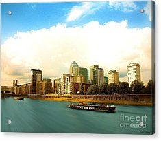 A View Over The River Thames Of Canary Wharf London Docklands England Acrylic Print by Flow Fitzgerald