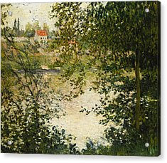 A View Through The Trees Of La Grande Jatte Island Acrylic Print by Claude Monet