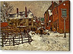 A Village In The Snow Acrylic Print by Henry King