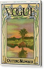A Vintage Vogue Magazine Cover Of A River Acrylic Print by Artist Unknown