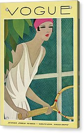 A Vintage Vogue Magazine Cover Of A Woman Acrylic Print by Harriet Meserole