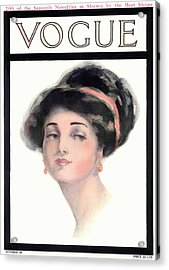 A Vintage Vogue Magazine Cover Of A Young Woman Acrylic Print by Helen Dryden