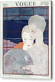 A Vintage Vogue Magazine Cover Of Two Women Acrylic Print