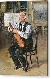 A Violin Maker, 1914 Oil On Panel Acrylic Print by Vladimir Egorovic Makovsky