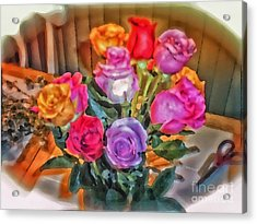 A Vivid Rose Bouquet For You Acrylic Print by Thomas Woolworth