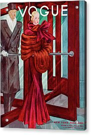 A Vogue Cover Of A Couple In A Revolving Door Acrylic Print