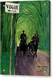 A Vogue Cover Of A Couple Riding Horses Acrylic Print