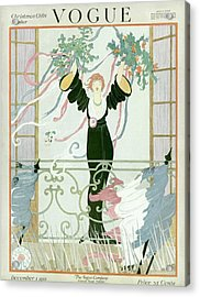 A Vogue Cover Of A Woman Above A Parade Acrylic Print by Helen Dryden