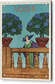 A Vogue Cover Of A Woman At A Balustrade Acrylic Print by Wilson Karcher