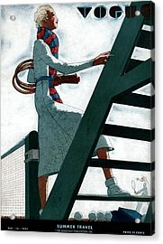 A Vogue Cover Of A Woman At A Tennis Court Acrylic Print