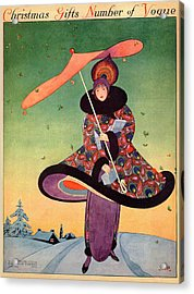 A Vogue Cover Of A Woman Holding An Umbrella Acrylic Print by George Wolfe Plank